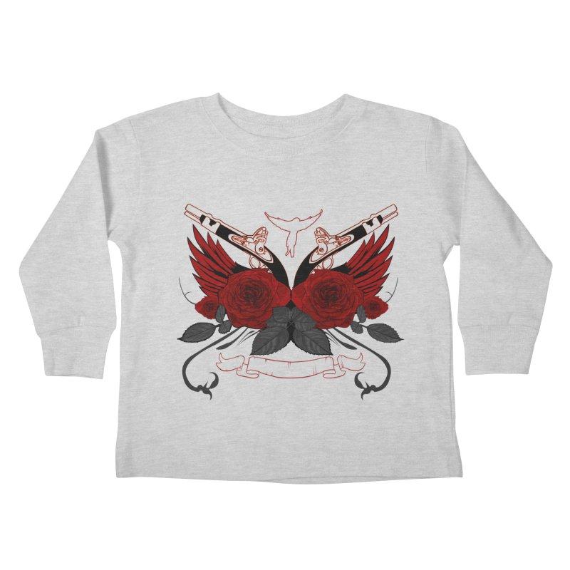 Guns and Roses RED Kids Toddler Longsleeve T-Shirt by adamzworld's Artist Shop