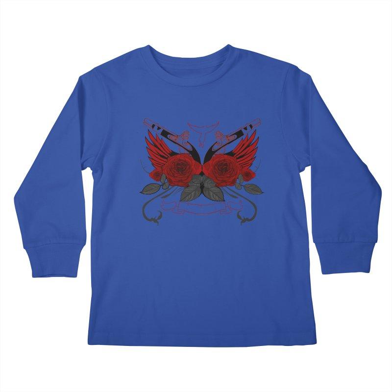 Guns and Roses RED Kids Longsleeve T-Shirt by adamzworld's Artist Shop
