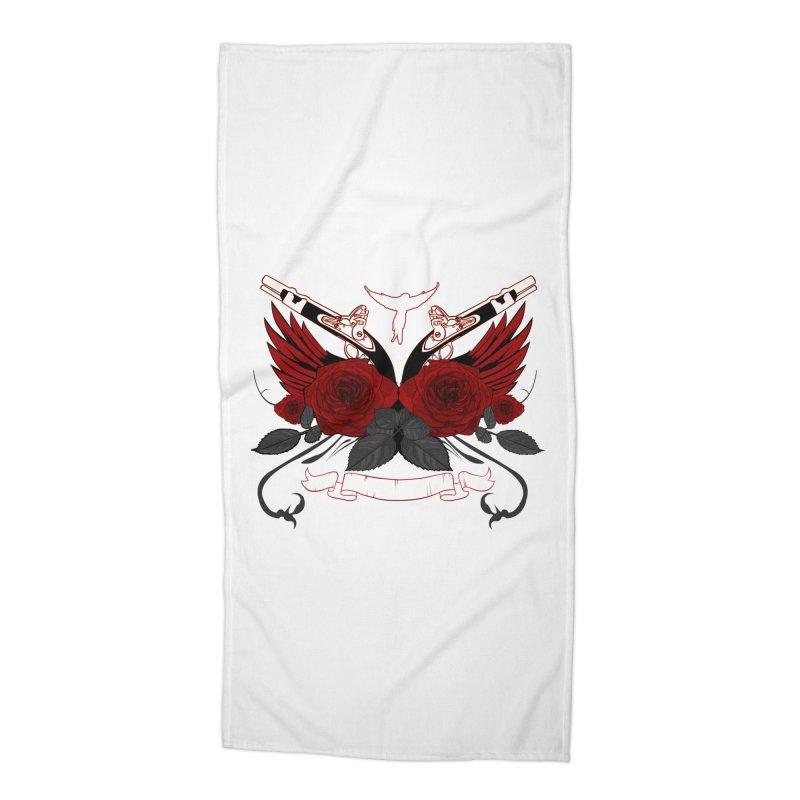 Guns and Roses RED Accessories Beach Towel by adamzworld's Artist Shop
