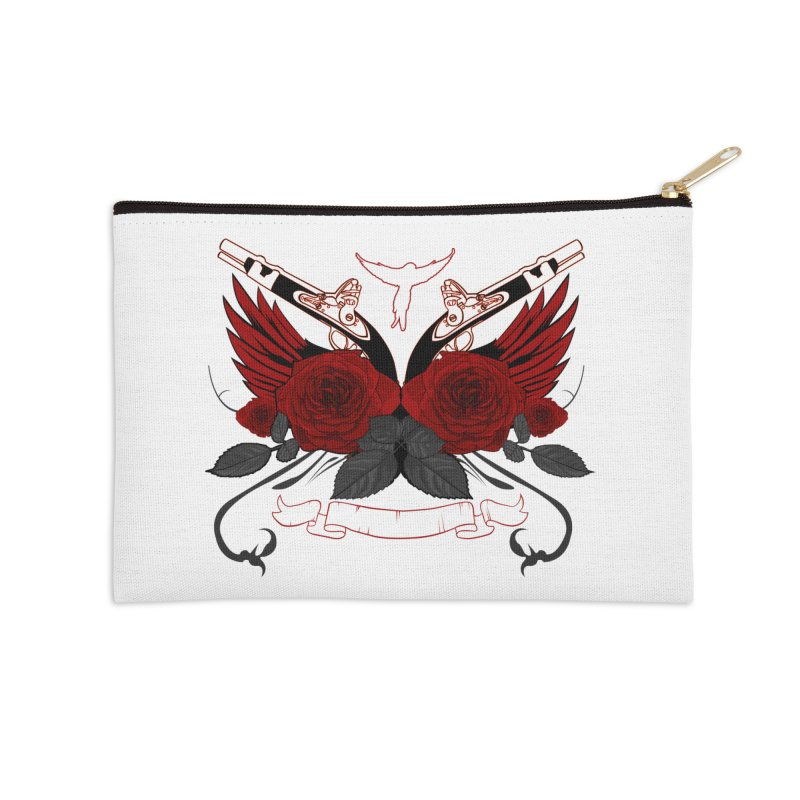 Guns and Roses RED Accessories Zip Pouch by adamzworld's Artist Shop