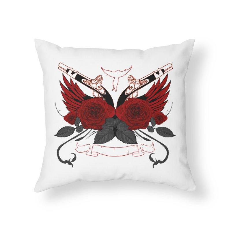 Guns and Roses RED Home Throw Pillow by adamzworld's Artist Shop