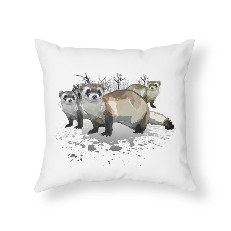 Ferrets Home Throw Pillow by adamzworld's Artist Shop