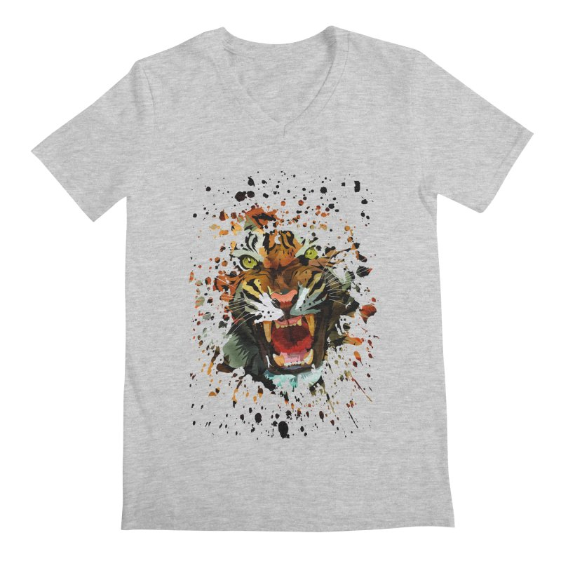 Tiger Roar Men's V-Neck by adamzworld's Artist Shop