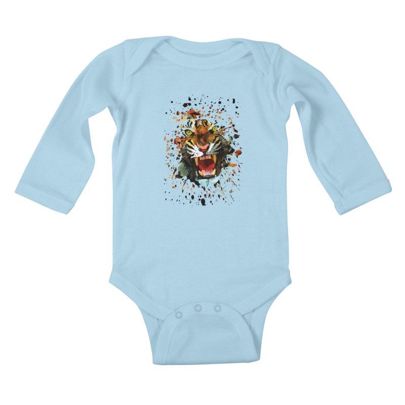 Tiger Roar Kids Baby Longsleeve Bodysuit by adamzworld's Artist Shop