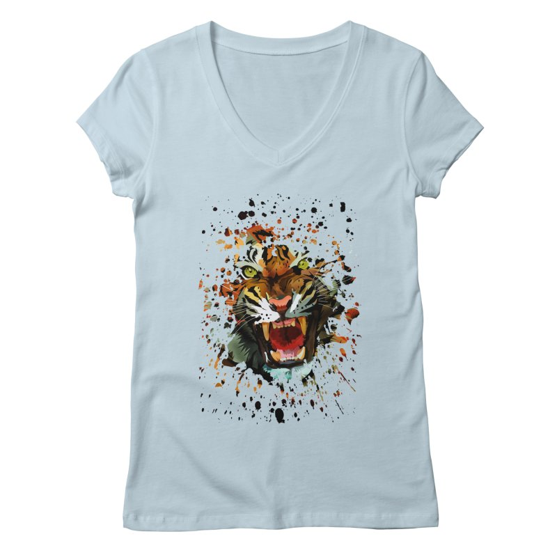 Tiger Roar Women's V-Neck by adamzworld's Artist Shop