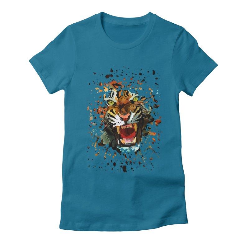 Tiger Roar Women's Fitted T-Shirt by adamzworld's Artist Shop
