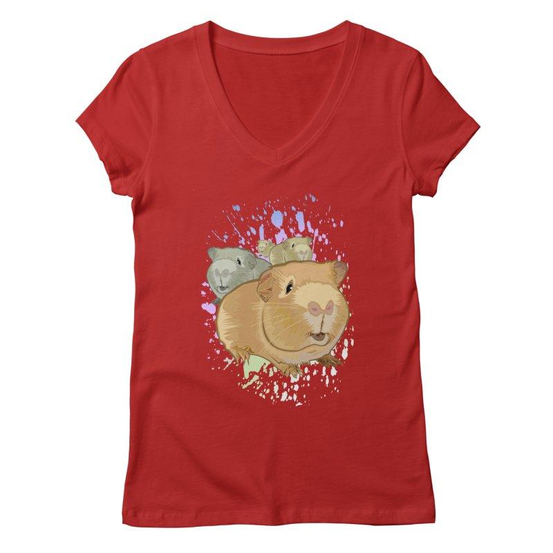Guinea Pigs Women's V-Neck by adamzworld's Artist Shop