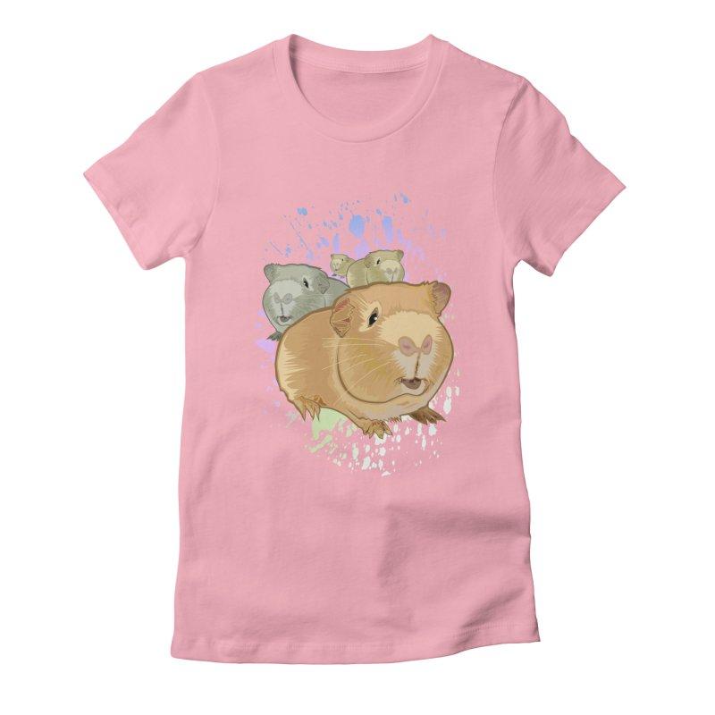 Guinea Pigs Women's Fitted T-Shirt by adamzworld's Artist Shop