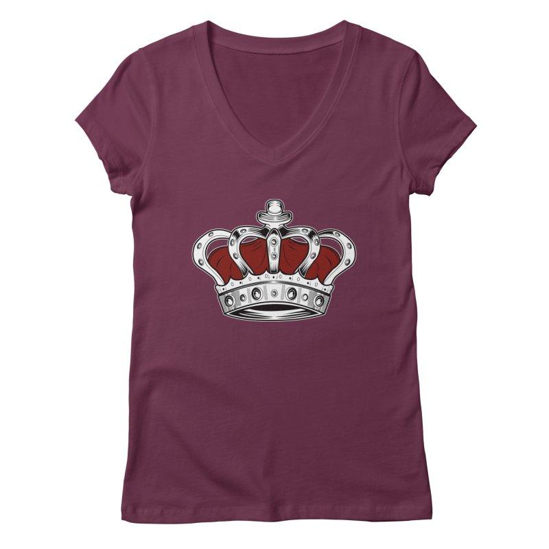 Crown - Red Women's V-Neck by adamzworld's Artist Shop