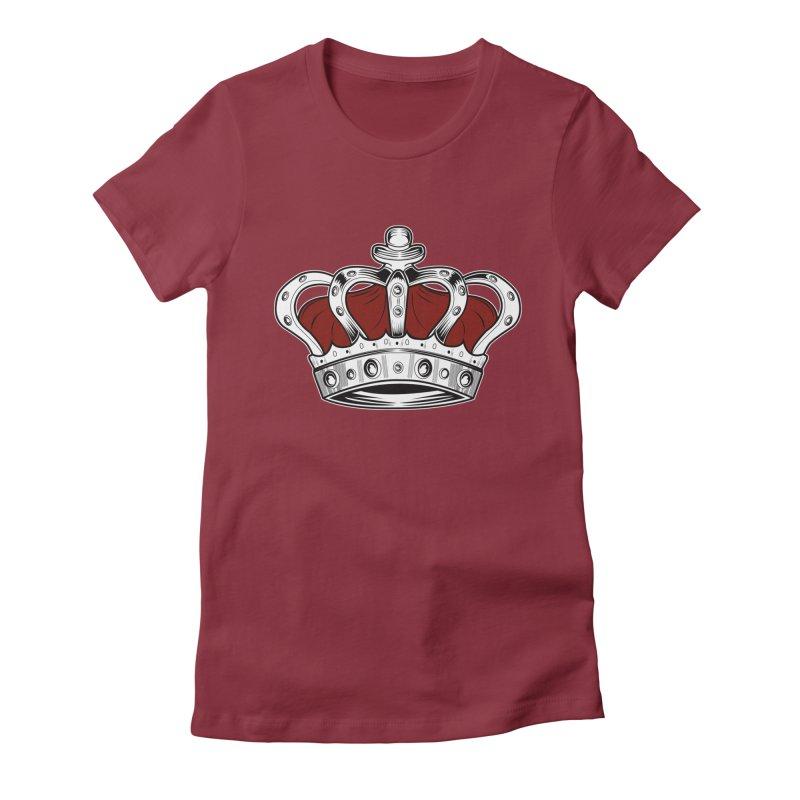 Crown - Red Women's Fitted T-Shirt by adamzworld's Artist Shop