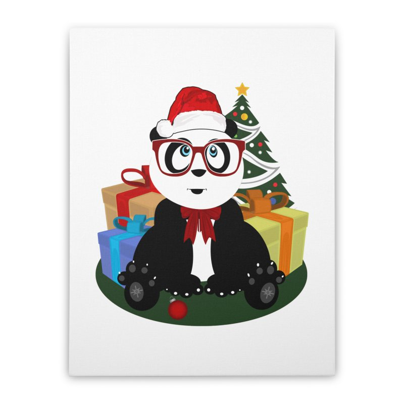 Christmas - Panda Nerd Home Stretched Canvas by adamzworld's Artist Shop
