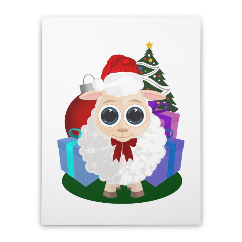 Christmas Sheep Home Stretched Canvas by adamzworld's Artist Shop
