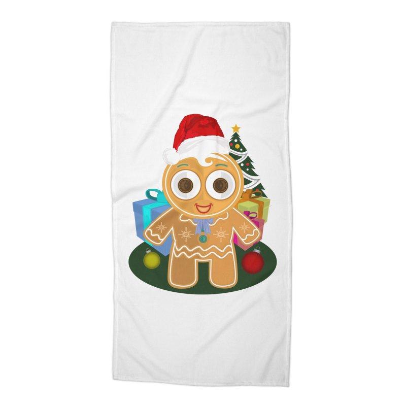 Ginger Bread Man Christmas Accessories Beach Towel by adamzworld's Artist Shop
