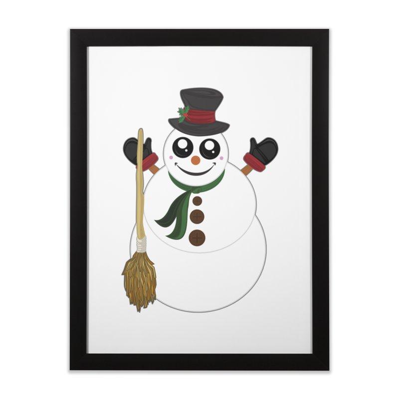 Snowman Home Framed Fine Art Print by adamzworld's Artist Shop