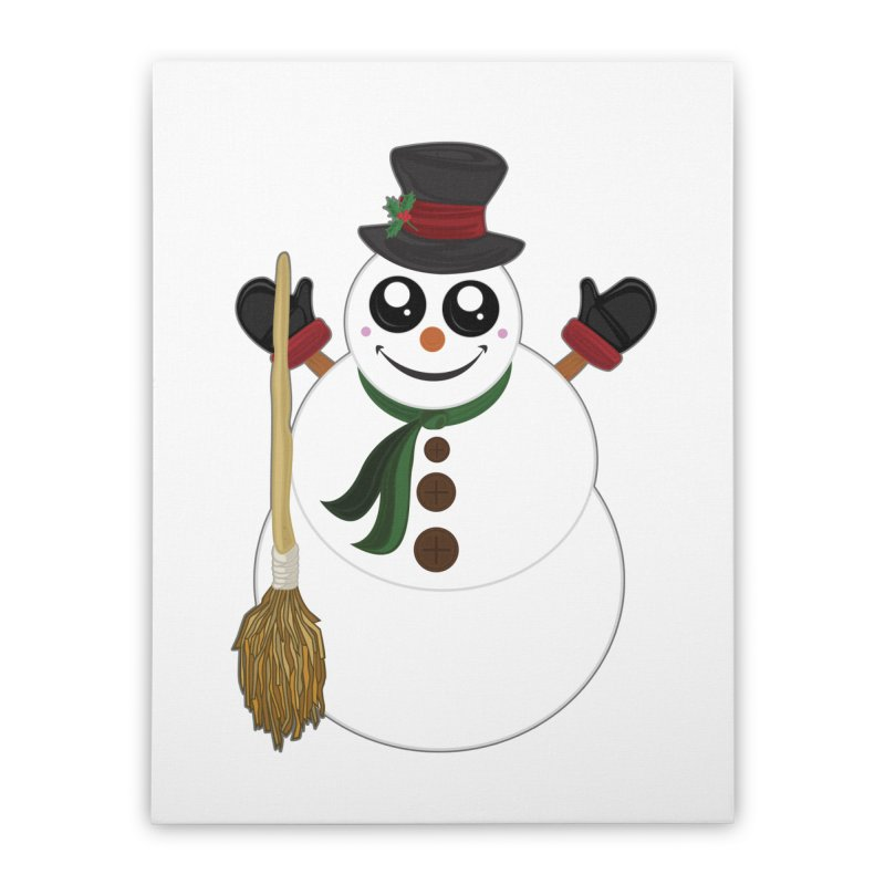 Snowman Home Stretched Canvas by adamzworld's Artist Shop