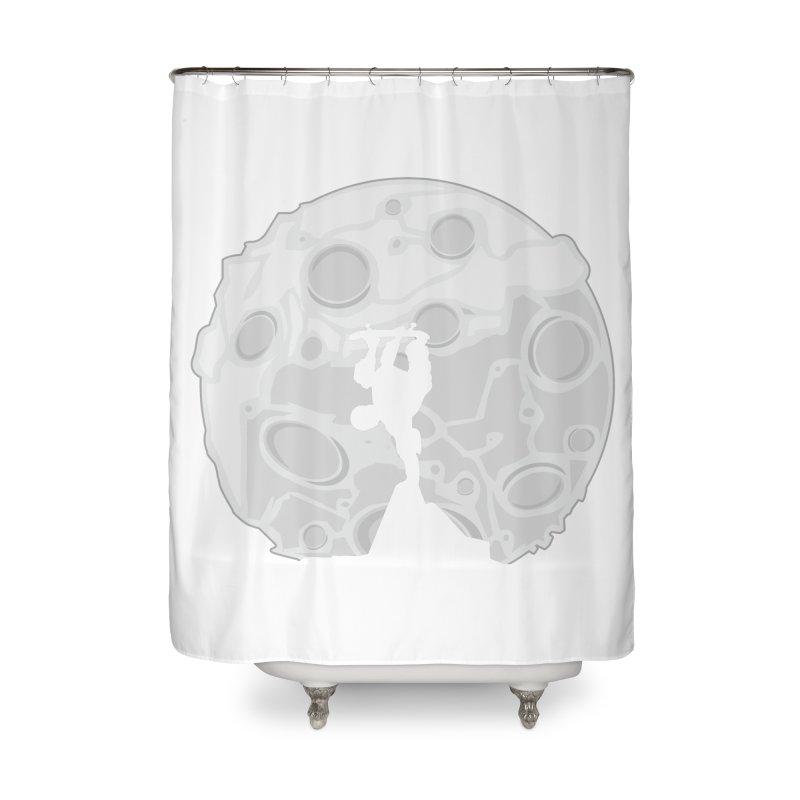 Skater Moon Home Shower Curtain by adamzworld's Artist Shop