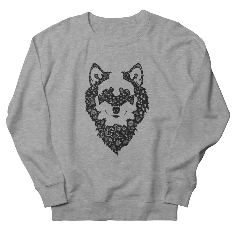 Wolf Men's French Terry Sweatshirt by Ad Eggermont's Artist Shop