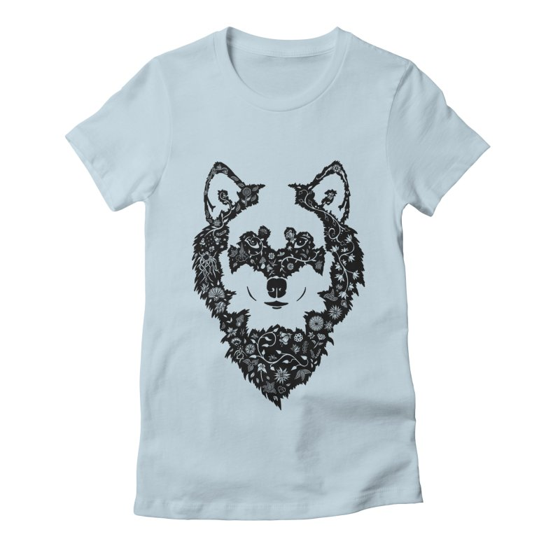 Wolf Women's Fitted T-Shirt by Ad Eggermont's Artist Shop