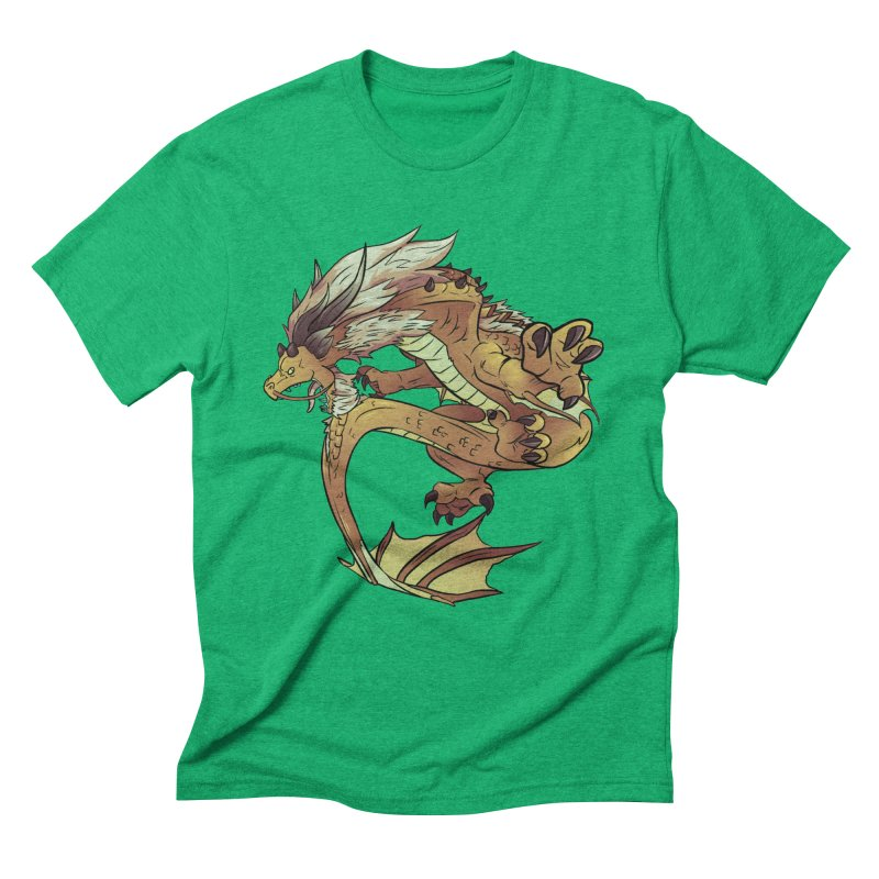 Fiveclaw Gold Dragon Men's Triblend T-shirt by AdeptGamer's Merchandise