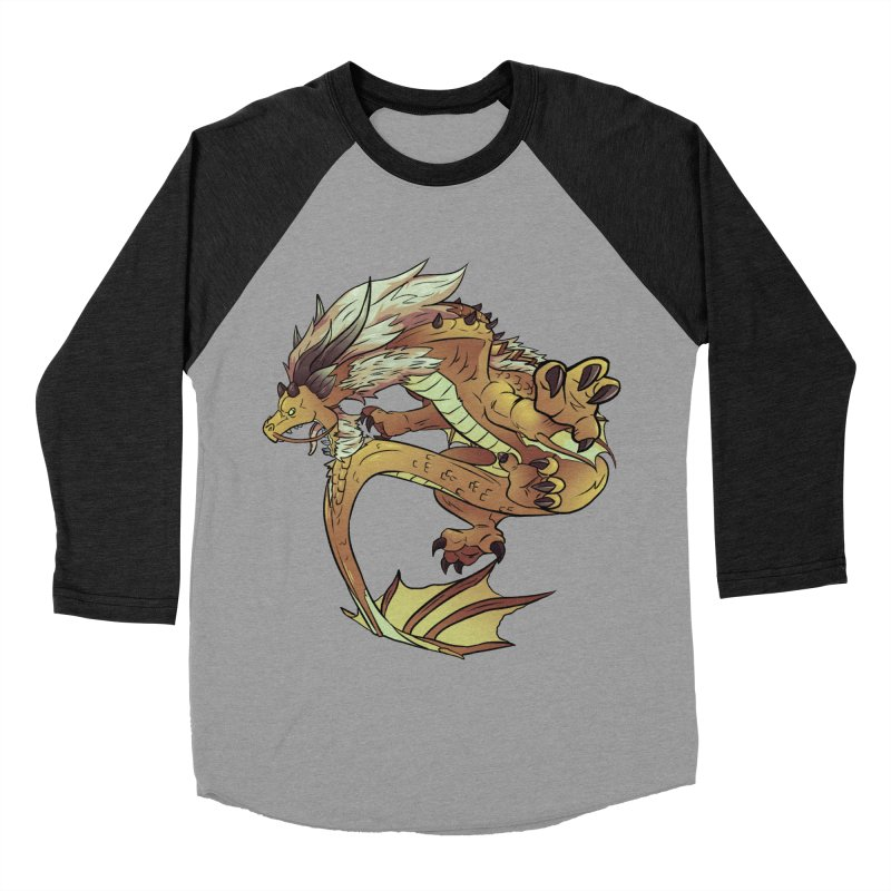 Fiveclaw Gold Dragon Men's Baseball Triblend T-Shirt by AdeptGamer's Merchandise