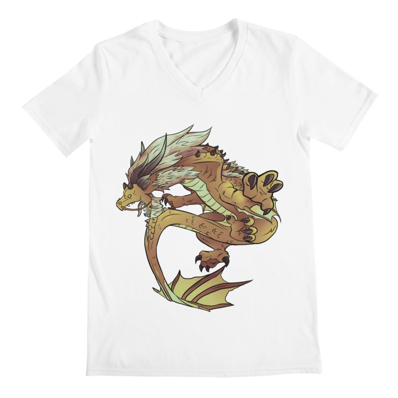 Fiveclaw Gold Dragon Men's V-Neck by AdeptGamer's Merchandise