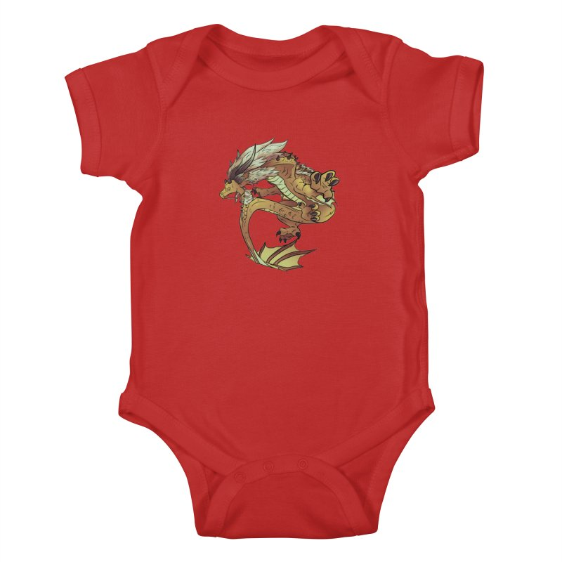 Fiveclaw Gold Dragon Kids Baby Bodysuit by AdeptGamer's Merchandise