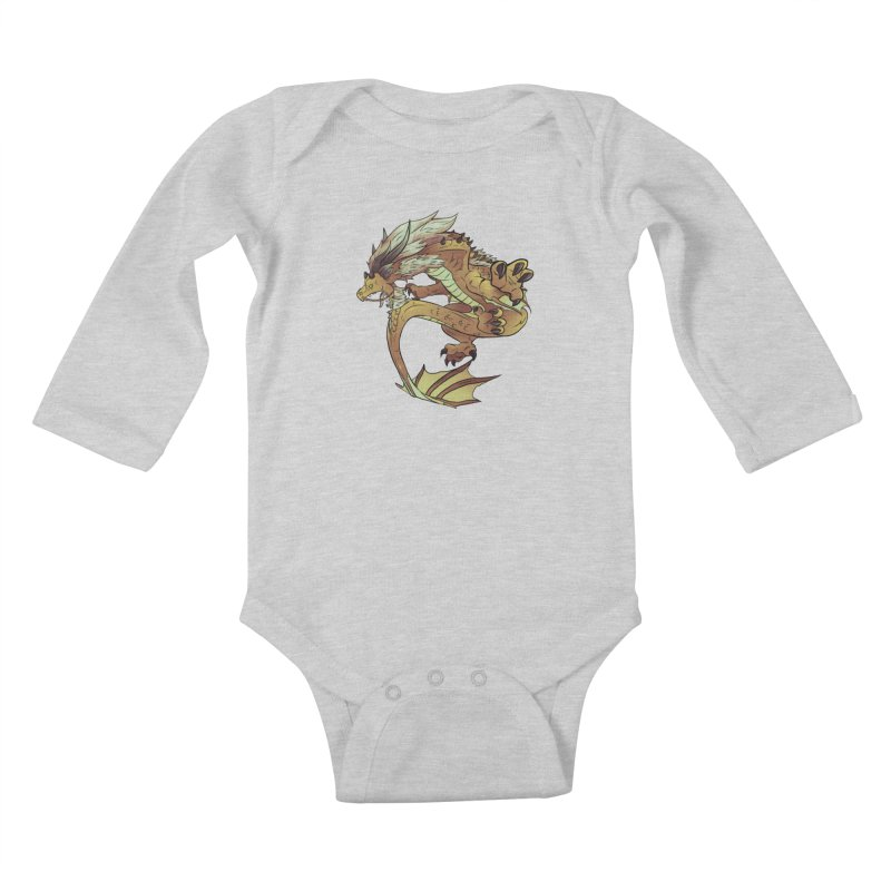 Fiveclaw Gold Dragon Kids Baby Longsleeve Bodysuit by AdeptGamer's Merchandise