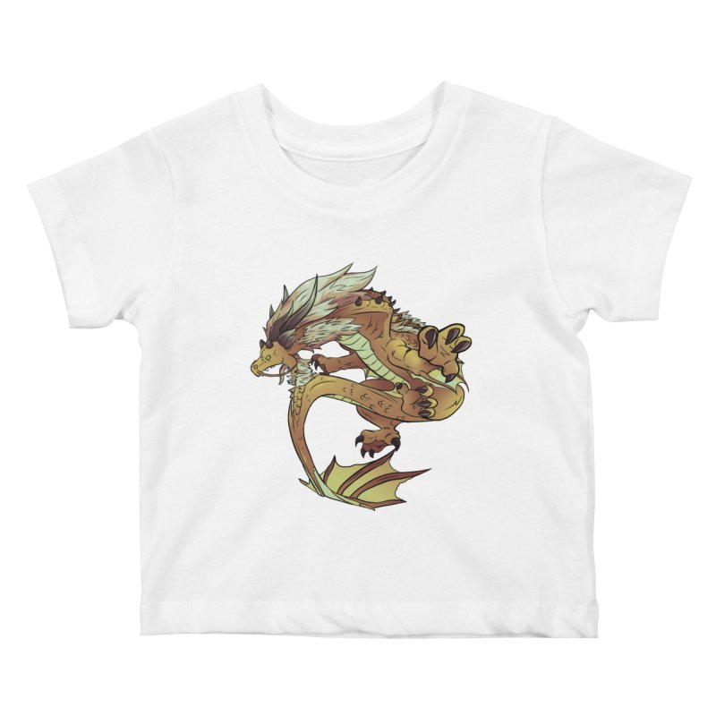Fiveclaw Gold Dragon Kids Baby T-Shirt by AdeptGamer's Merchandise