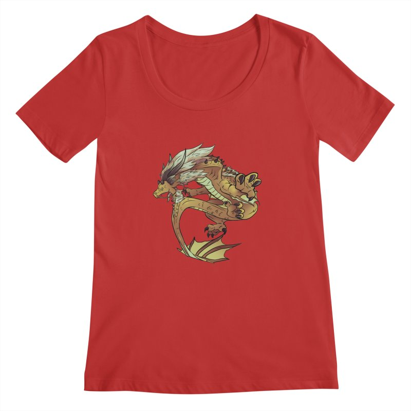 Fiveclaw Gold Dragon Women's Scoopneck by AdeptGamer's Merchandise