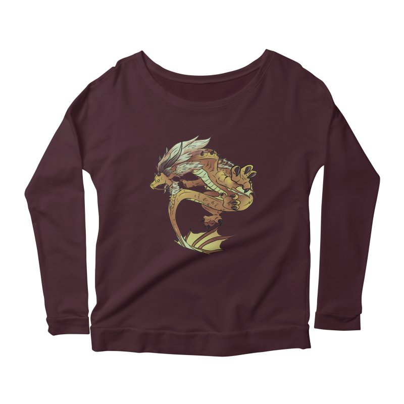 Fiveclaw Gold Dragon Women's Longsleeve Scoopneck  by AdeptGamer's Merchandise