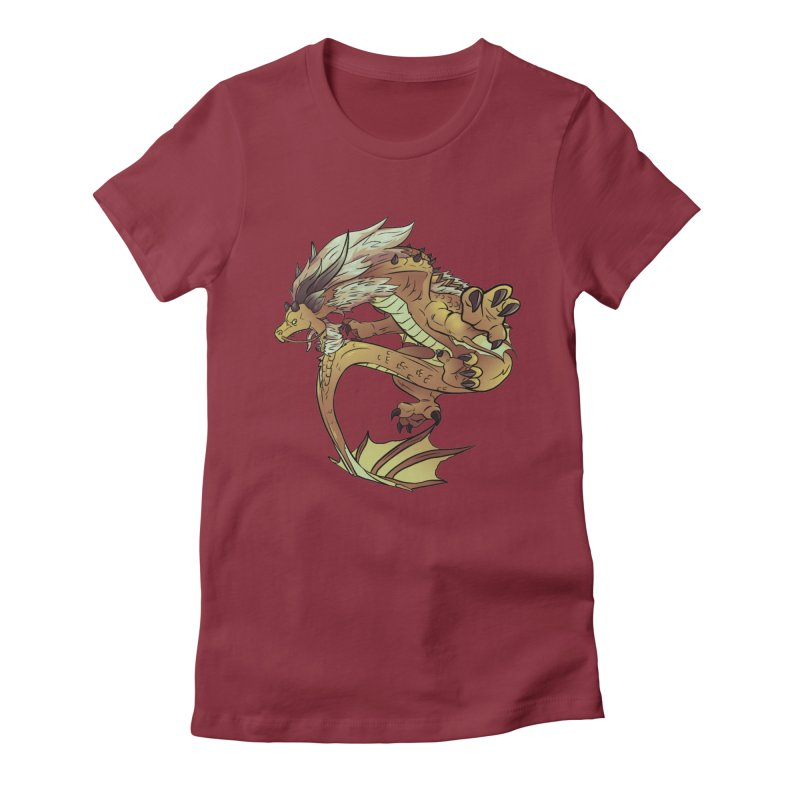 Fiveclaw Gold Dragon Women's Fitted T-Shirt by AdeptGamer's Merchandise