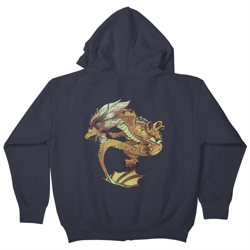 Fiveclaw Gold Dragon Kids Zip-Up Hoody by AdeptGamer's Merchandise