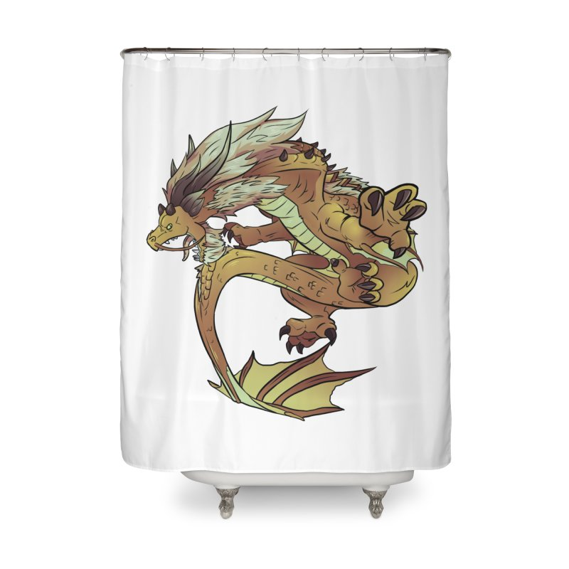 Fiveclaw Gold Dragon Home Shower Curtain by AdeptGamer's Merchandise