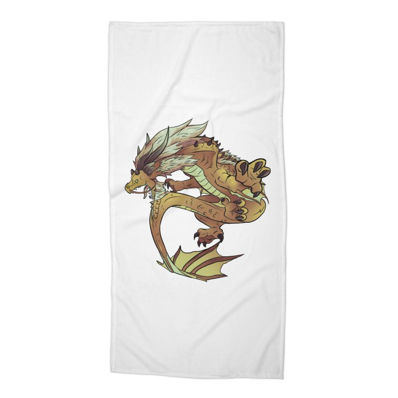 Fiveclaw Gold Dragon Accessories Beach Towel by AdeptGamer's Merchandise