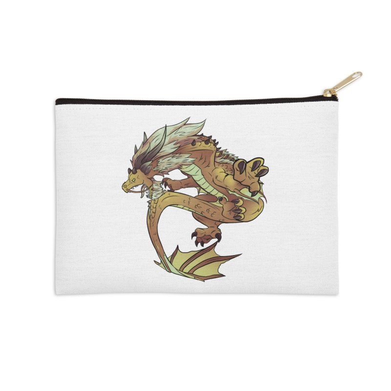 Fiveclaw Gold Dragon Accessories Zip Pouch by AdeptGamer's Merchandise