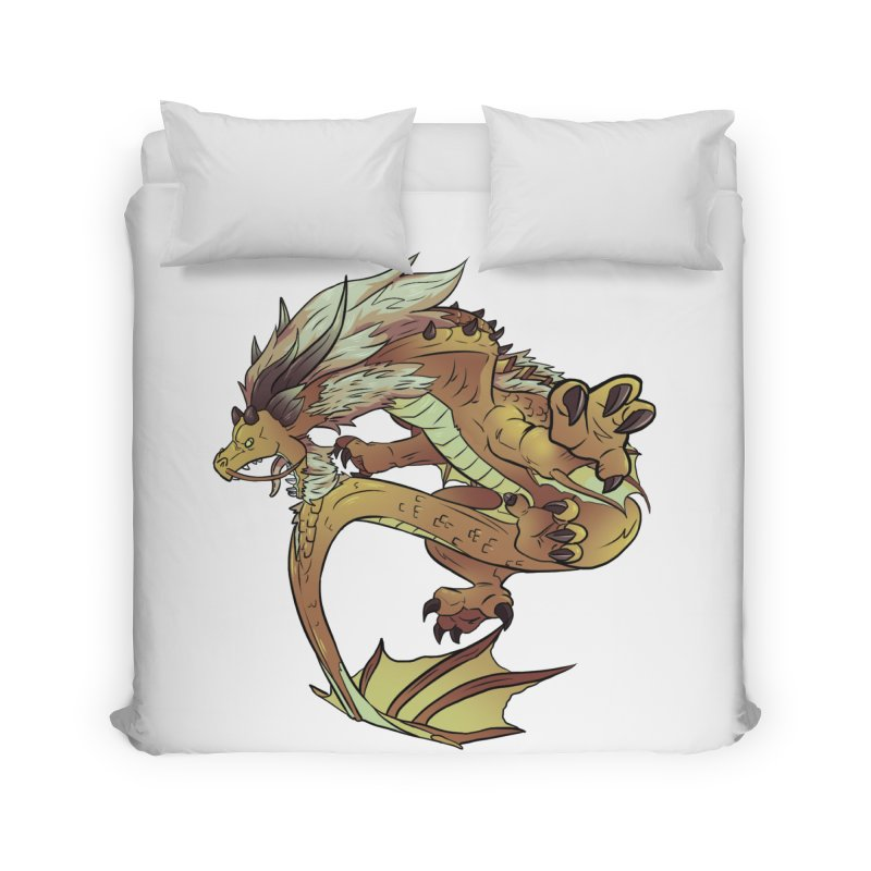 Fiveclaw Gold Dragon Home Duvet by AdeptGamer's Merchandise
