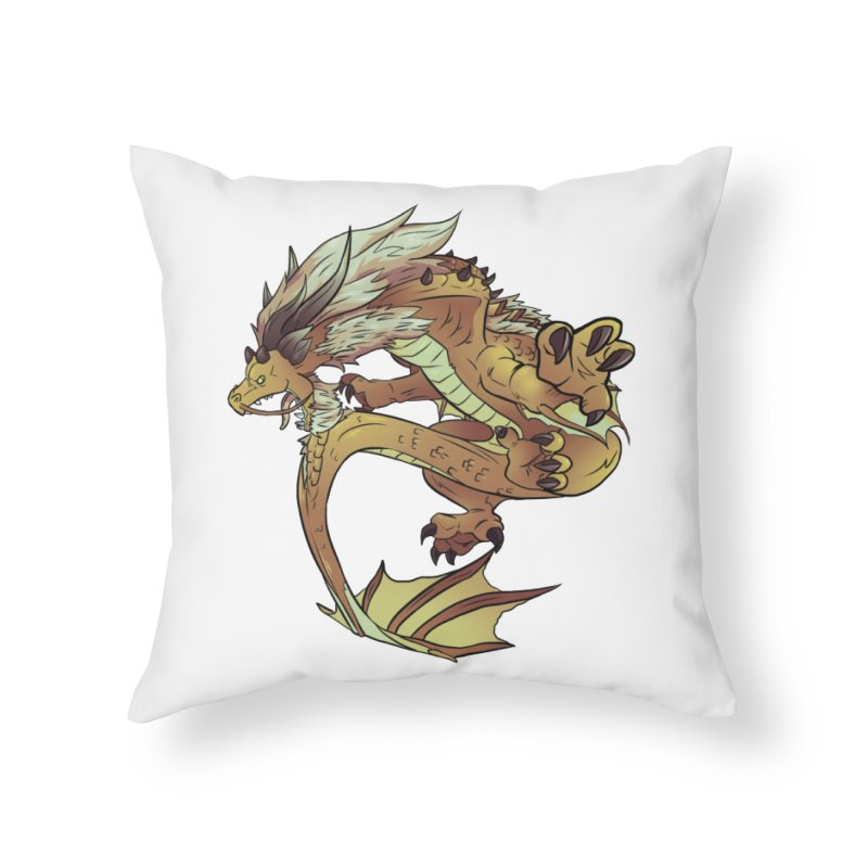 Fiveclaw Gold Dragon Home Throw Pillow by AdeptGamer's Merchandise