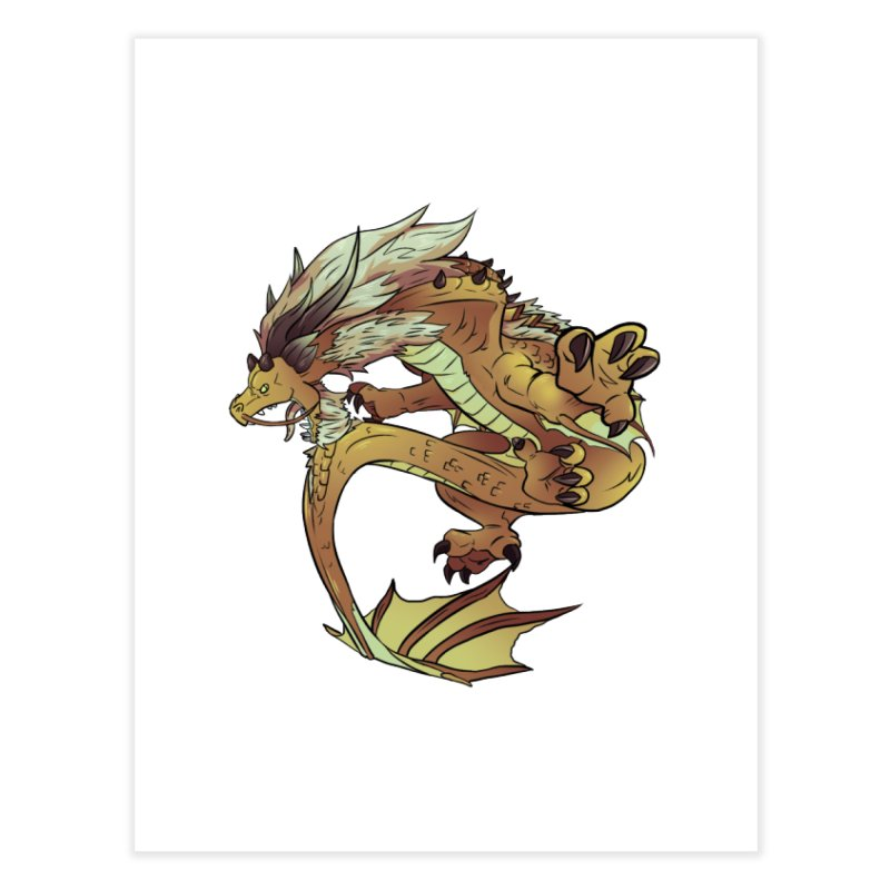 Fiveclaw Gold Dragon Home Fine Art Print by AdeptGamer's Merchandise