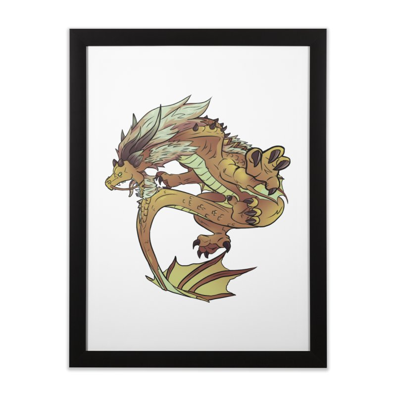 Fiveclaw Gold Dragon Home Framed Fine Art Print by AdeptGamer's Merchandise