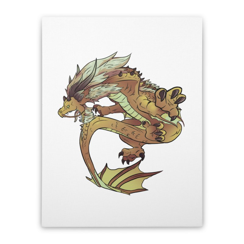 Fiveclaw Gold Dragon Home Stretched Canvas by AdeptGamer's Merchandise