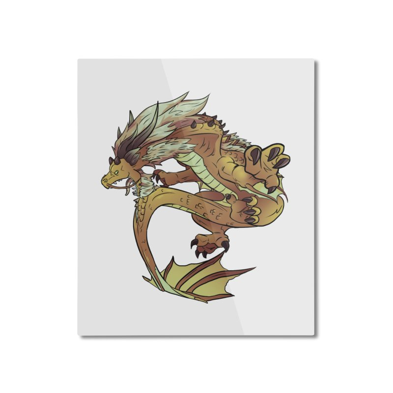 Fiveclaw Gold Dragon Home Mounted Aluminum Print by AdeptGamer's Merchandise