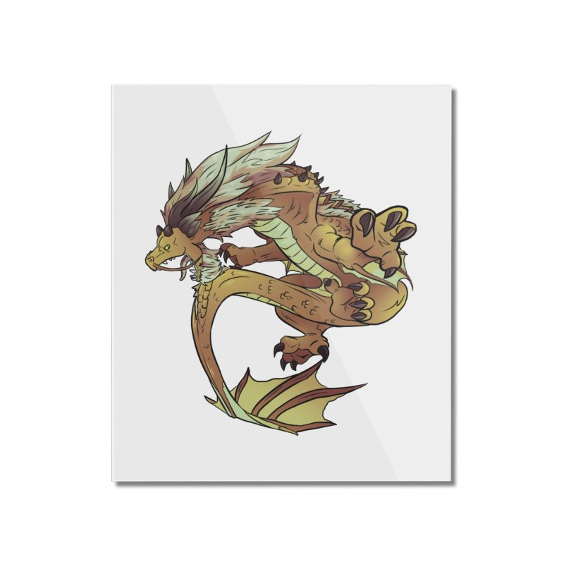 Fiveclaw Gold Dragon Home Mounted Acrylic Print by AdeptGamer's Merchandise