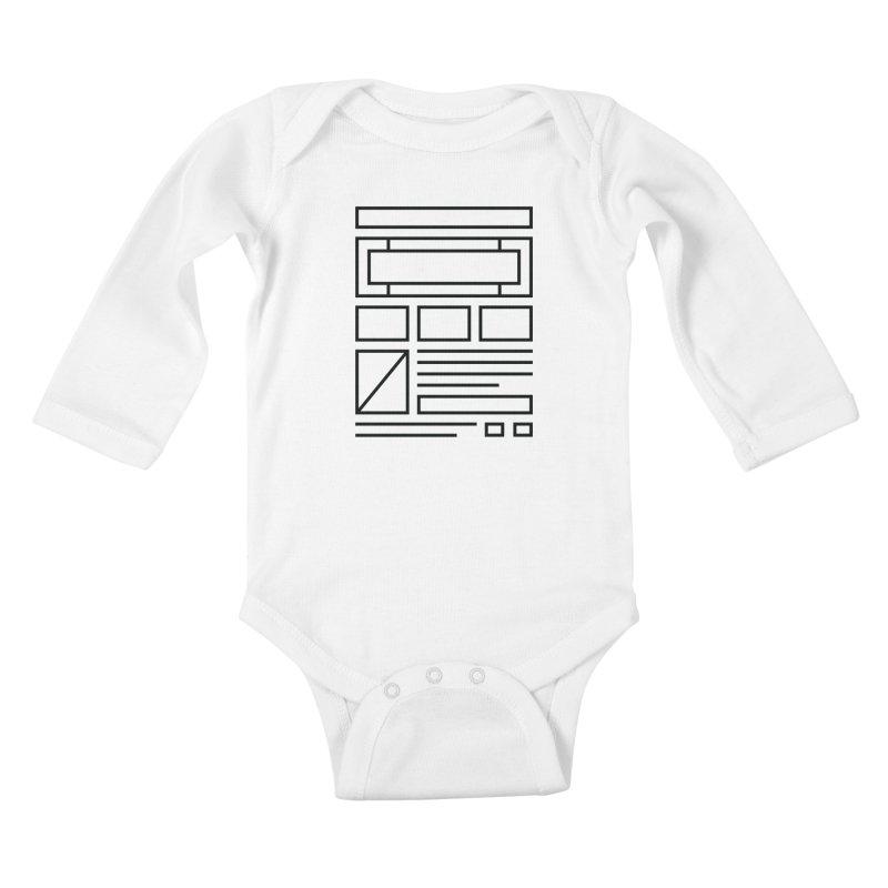 Wireframe Kids Baby Longsleeve Bodysuit by adilsiddiqui's Artist Shop