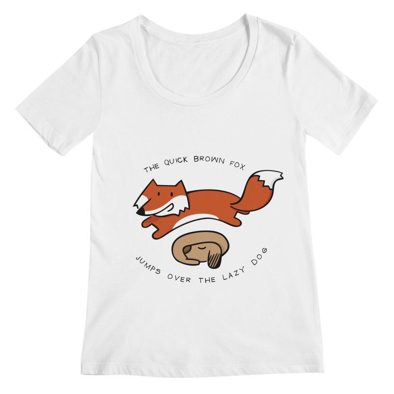 The quick brown fox Women's Scoopneck by adrianachionetti's Artist Shop