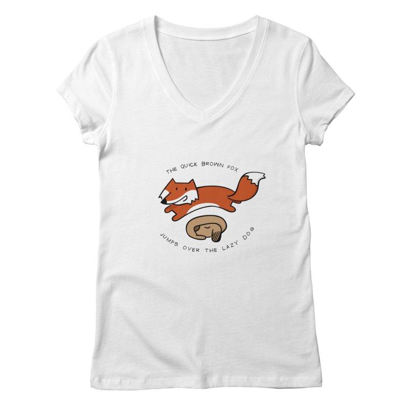 The quick brown fox Women's V-Neck by adrianachionetti's Artist Shop