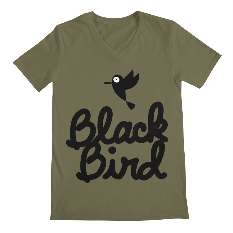 Black Bird Men's V-Neck by adrianachionetti's Artist Shop