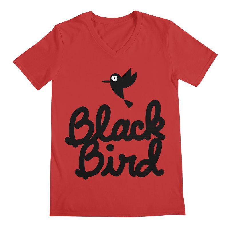 Black Bird Men's V-Neck by adrianachionetti's Artist Shop