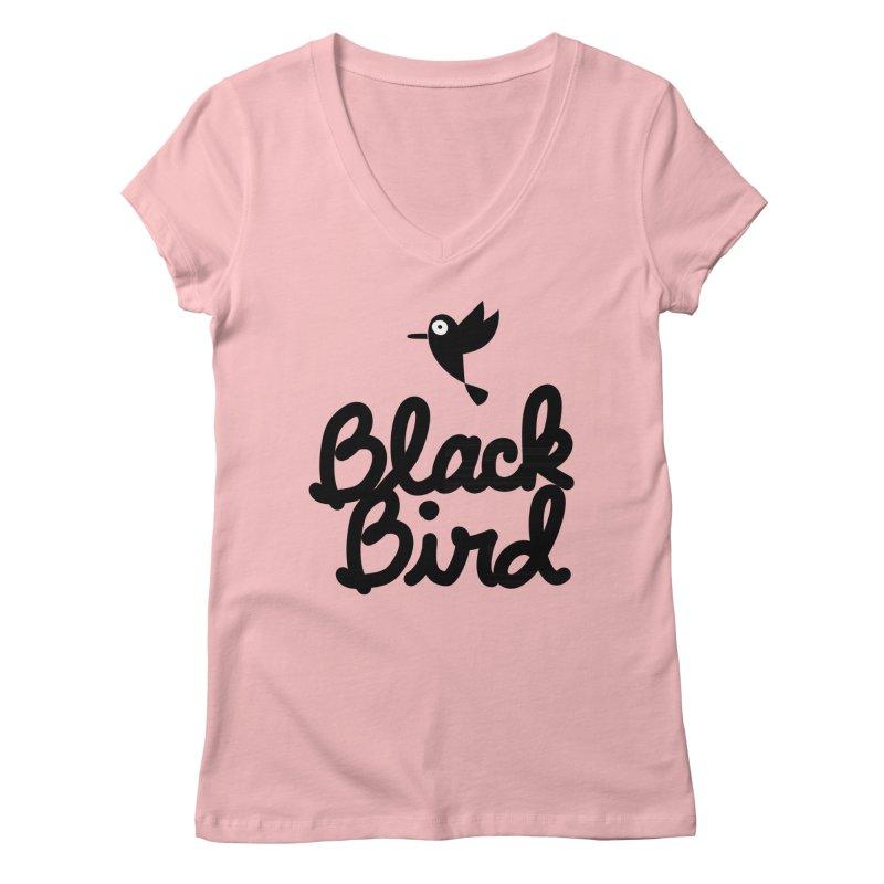 Black Bird Women's V-Neck by adrianachionetti's Artist Shop