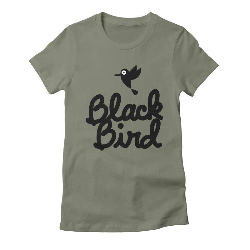 Black Bird Women's Fitted T-Shirt by adrianachionetti's Artist Shop