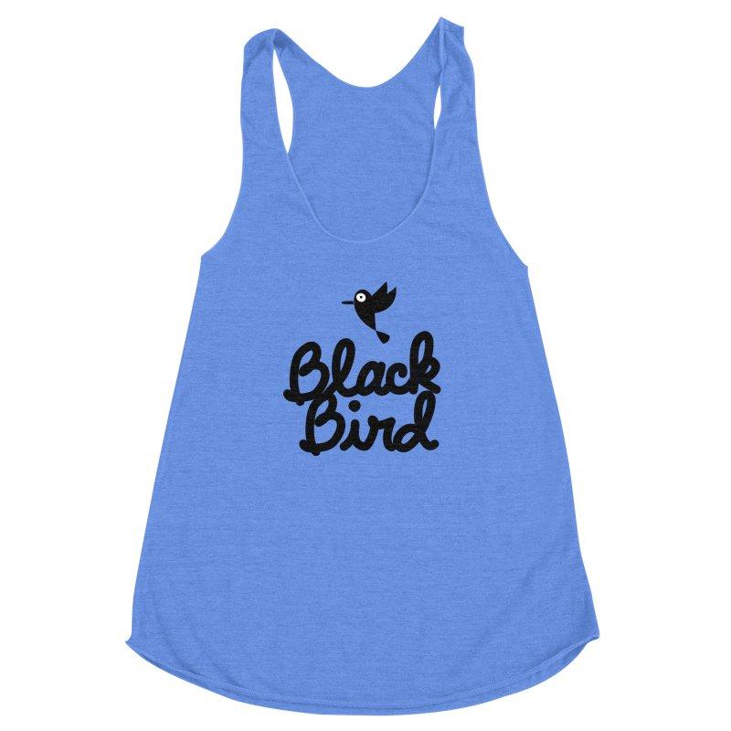 Black Bird Women's Racerback Triblend Tank by adrianachionetti's Artist Shop